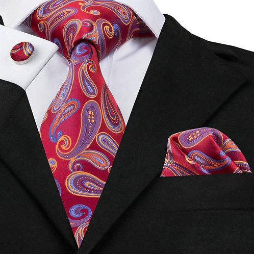 Wine Red Paisley Print Silk Tie Set w/Cufflinks and Hankie