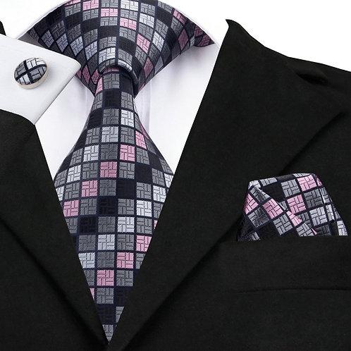 Grey Multi-Color Checked Design Silk Tie Set w/Cufflinks and Hankie
