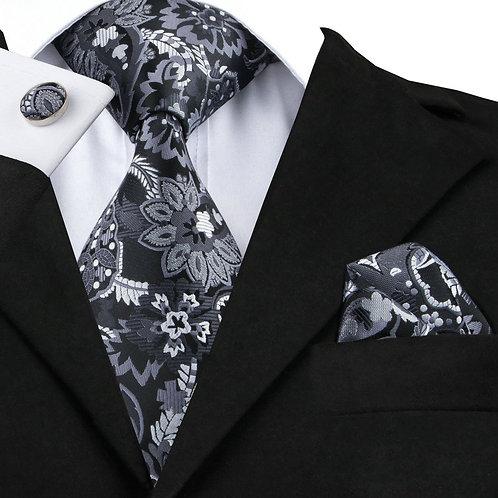 Black and Grey Print Silk Tie Set w/Cufflinks and Hankie