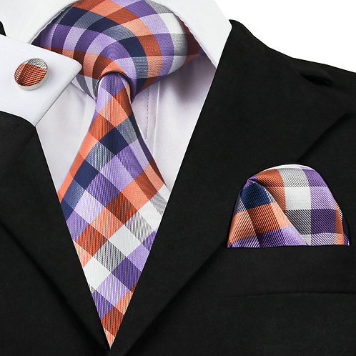 Multi-Color Cross Stich Print w/Cufflinks and Hankie