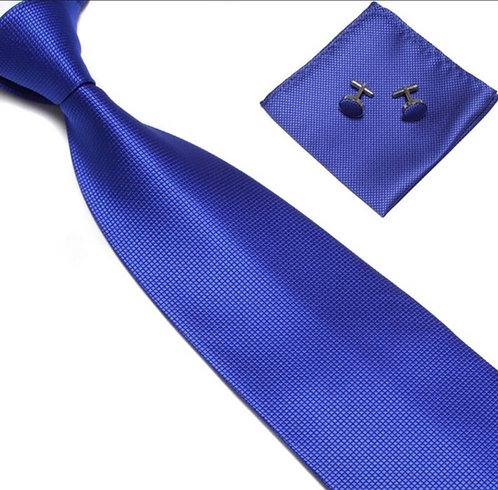Royal Blue Silk Tie Set w/Cufflinks and Hankie