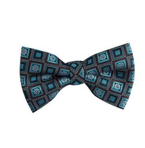 Self-Tie: Oasis Teal Blue and Black Self-Tie Bow Tie Set w/Hankie