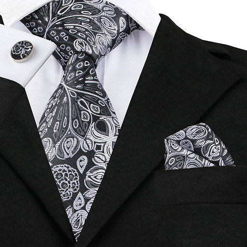 Dark Grey and White Jacquard Silk Tie Set w/Cufflinks and Hankie