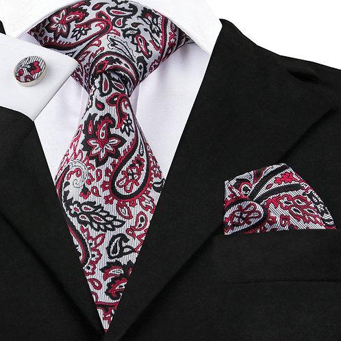 Ice Grey, Black and Red Paisley Print Silk Tie Set w/Cufflinks and Hankie