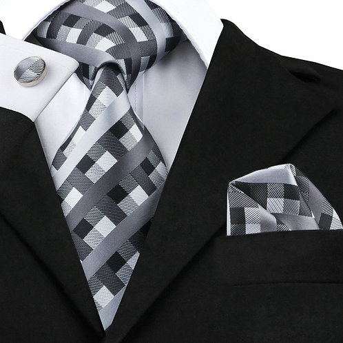 Black and Grey Checked Silk Tie Set w/Cufflinks and Hankie