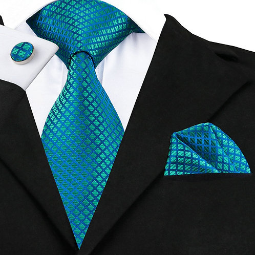 Teal and Sea Blue Checked Silk Tie Set w/Cufflinks and Hankie