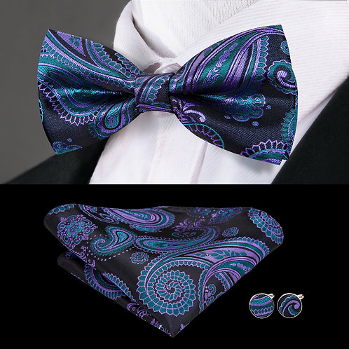 Black and Lavender Paisley Silk Bow Tie Set w/Cufflinks and Hankie