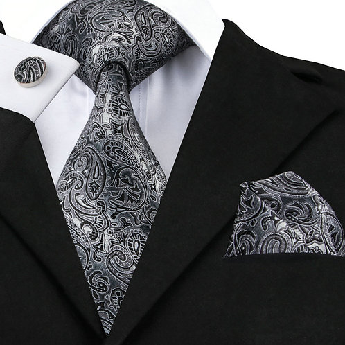Ghost Grey and Black Paisley Silk Tie Set w/Cufflinks and Hankie