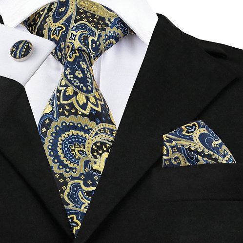 Navy and Yellow Paisley Print Tie Set w/Cufflinks and Hankie