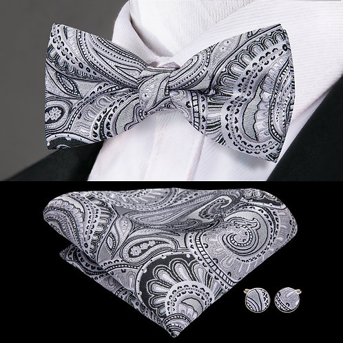 Silver and Grey Silk Paisley Print Bow Tie w/Hankie and Cufflinks