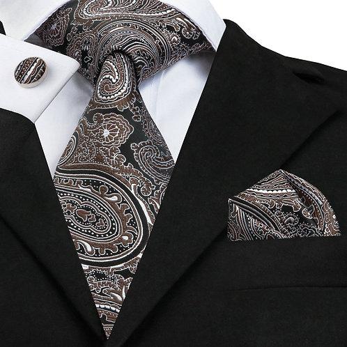 Brown and Black Paisley Print Silk Tie Set w/Cufflinks and Hankie