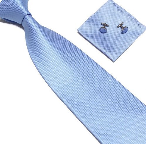 Sky Blue Silk Tie Set w/Cufflinks and Hankie