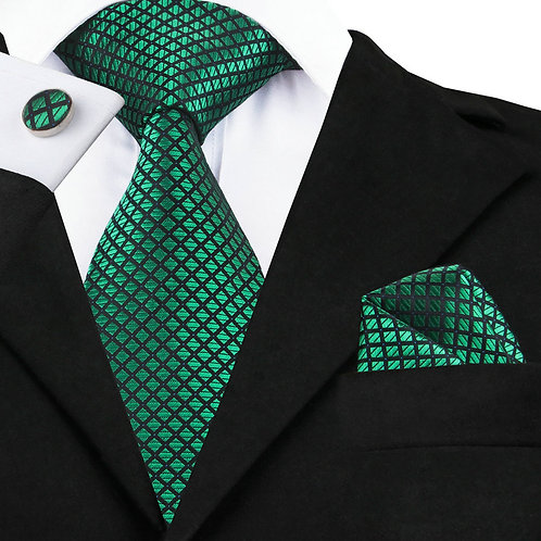 Green and Dark Blue Checked Tie Set w/Cufflinks and Hankie