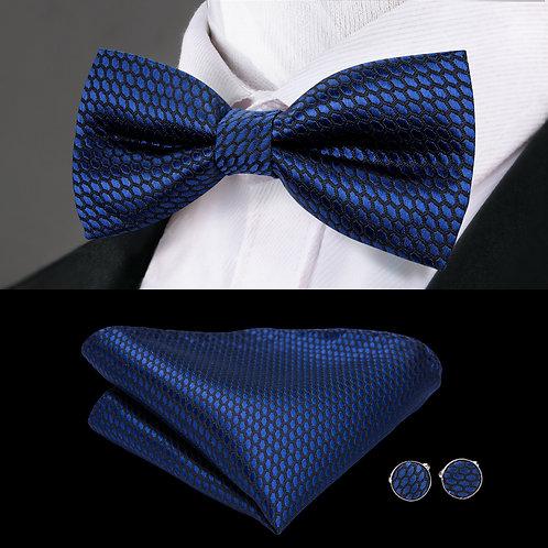 Navy Blue and Black Silk Bow Tie Set w/Cufflinks and Hankie