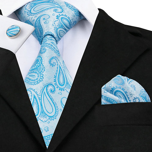 Sky Blue and Silver Silk Tie Set w/Cufflinks and Hankie