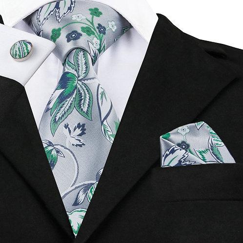 Silver and Green Paisley Print Silk Necktie Set w/Cufflinks and Hankie
