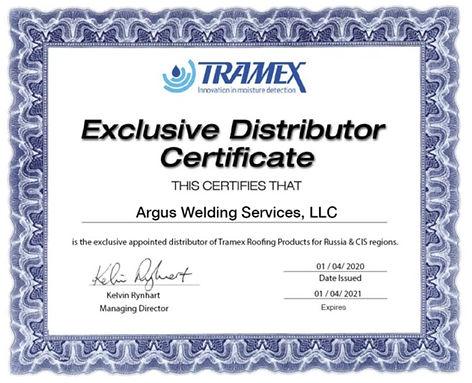 Сертификат Эксклюзивного дилера TRAMEXME