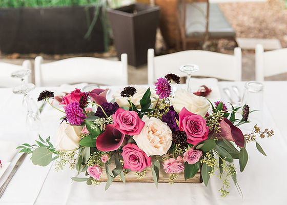 Dallas wedding forist centerpiece purple roses rustic elgant whimsical garden floral