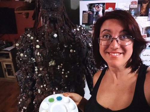 Erica Summers creating the monster costu