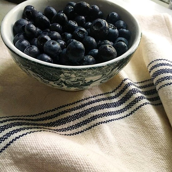 Hand-Woven Cotton Tea Towels - French Navy Stripes