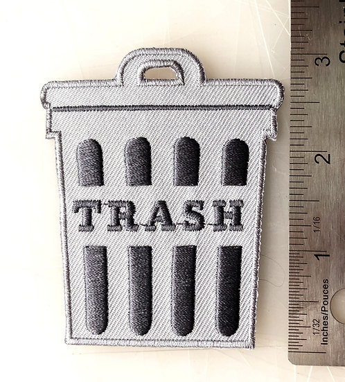 TRASH CAN Iron On Patch