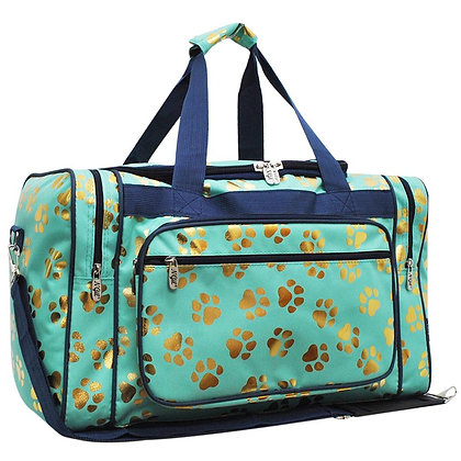 Paw Print Love Canvas Duffle Gym Bag