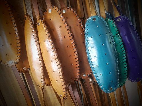 Traditional Shetland knitting belt makkin belt brown blue purple teal