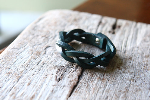 blue leather mystery braid braided wristband natural veg tanned leather gift