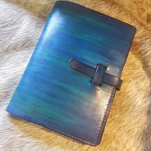 Hand stitched pocket journal natural veg tanned leather hand made shetland leather