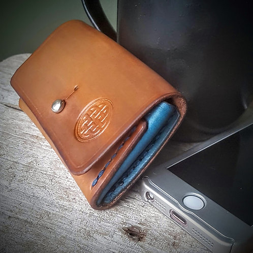 leather coin card purse wallet celtic hand stitched