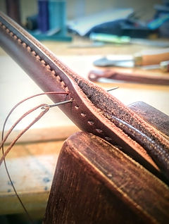 shetland leather repair handmade leather hand stitching leather