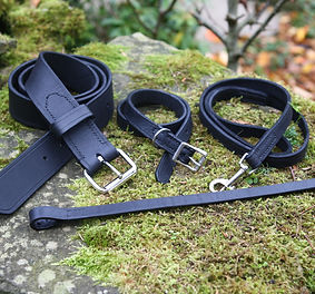 Handmade leather belt, browband, dog collar & lead gift set