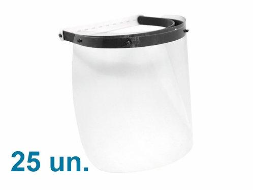 Máscara Protetora Facial - Kit com 25 un - Face Shield Reutilizável e Ajustável