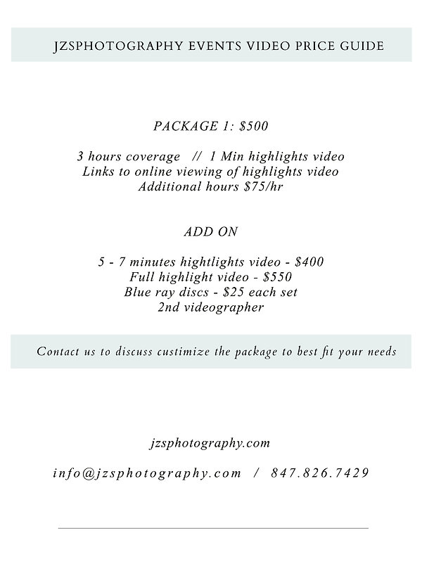 EVENT videography price guide 2020-2021.