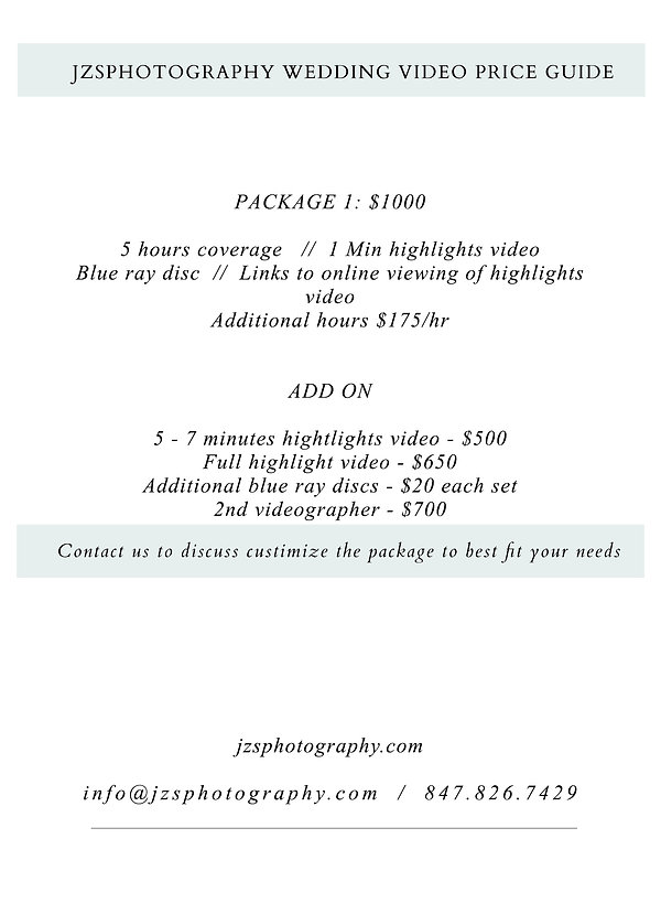 WEDDING videography proce guide 2020-202