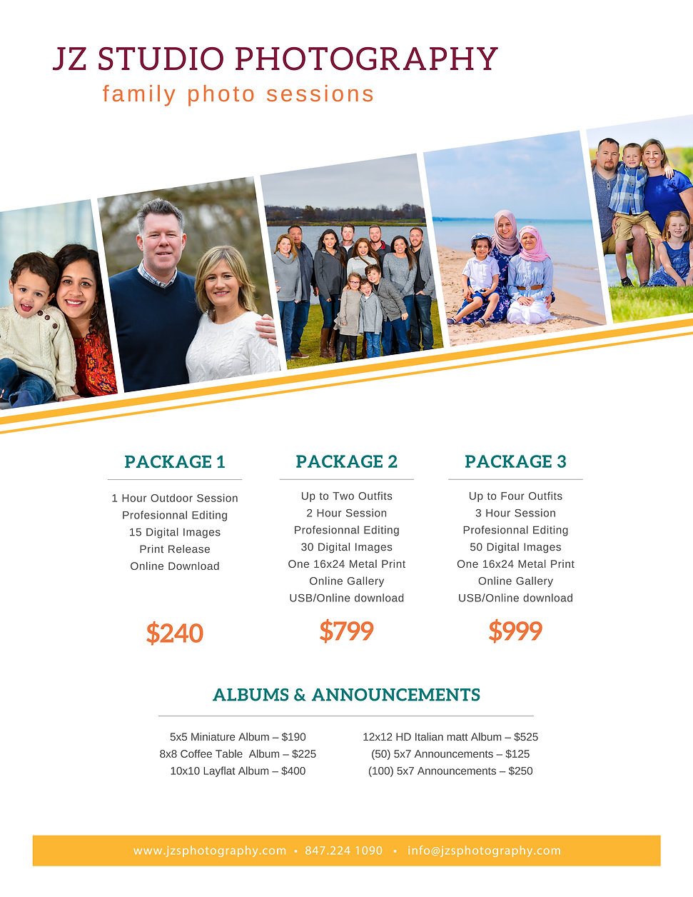 JZ STUDIO PHOTOGRAPHY FAMILY PACKAGES co