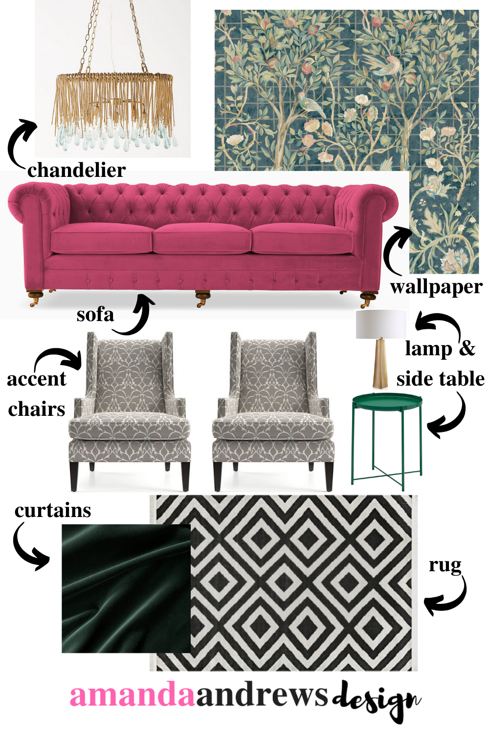 Eclectic Living Room Concept Board by Amanda Andrews Design