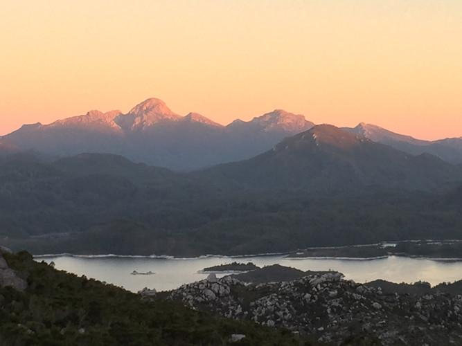 Pink Mountains of Queenstown Tasmania