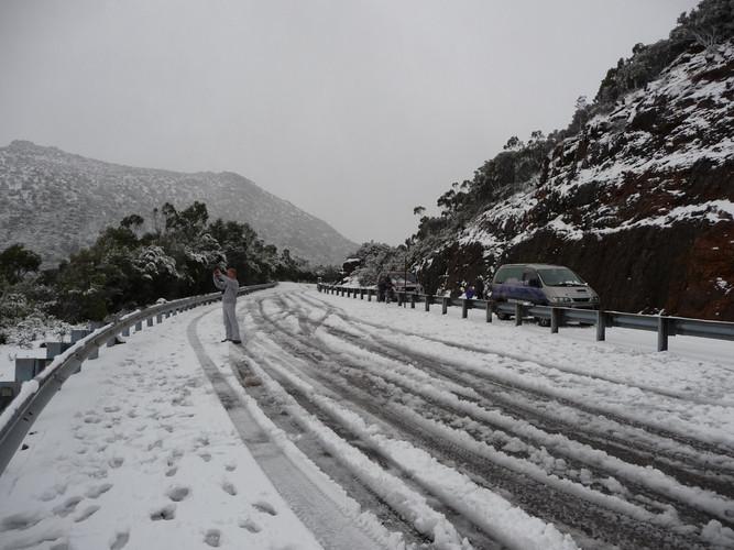 Winter snow around Queenstown Tasmania