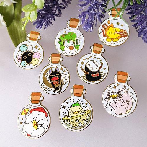 Mix n Match Bottled Ghibli Spirits Enamel Pins