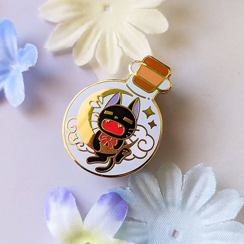 Bottled Black Scaredy Jiji Cat Spirit Enamel Pin