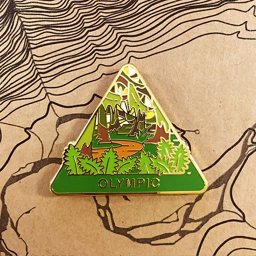 Triangle Olympic National Park Hard Enamel Pin featuring Hoh Rainforest.
