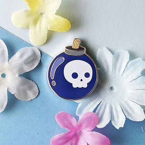 Blue Skull Bomb Pin