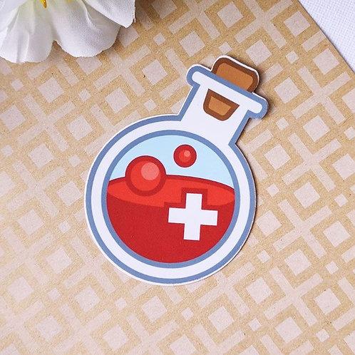 Red HP Health Potion Bottle Vinyl Sticker