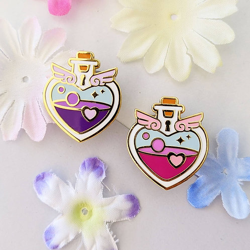 Pink/Purple Locked Heart Love Potion Bottle Pin