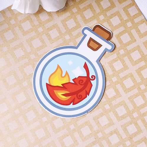 Red Phoenix Feather Life Potion Bottle Vinyl Sticker