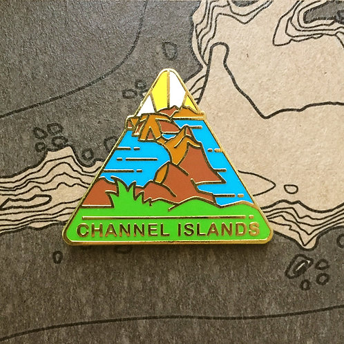 Triangle Channel Islands National Park Hard Enamel Pin featuring a view of islands from Inspiration Point.