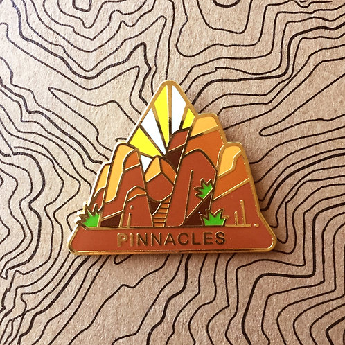 Triangle Pinnacles National Park Hard Enamel Pin featuring the rocky pinnacles that make up the park.