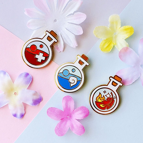 Starter Potion Bottles Pin Set: HP, MP, Phoenix Feather