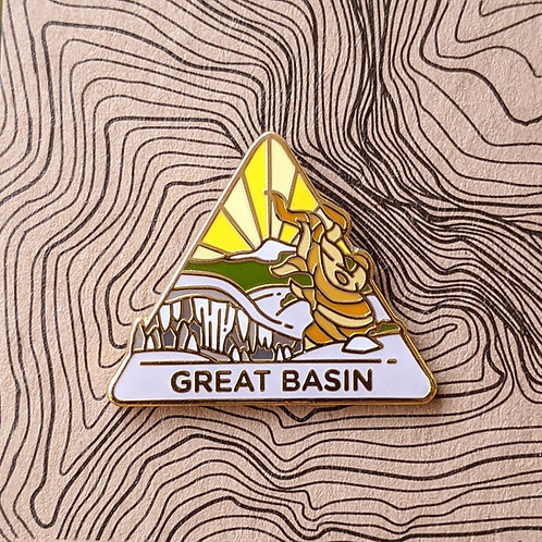 Triangle Great Basin National Park Hard Enamel Pin featuring an old Bristlecone tree native to the park and Lehman Cave.